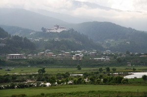 Jakar Dzong in the backdrop of Jakar town in summer