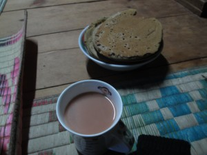 Pancake and Butter tea, a staple of Bumthang daily diet.