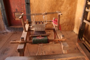 A wooden weaving machine at Ugencholing Manor