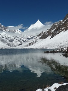 View of Mt Jhomalari and Jichu Drakrey from Tshopchu lake http://www.windhorsetours.com/