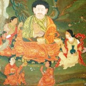 Mural-of-Phajo-Drukgom-Zhigpo-and-his-family-in-Tango-Choying