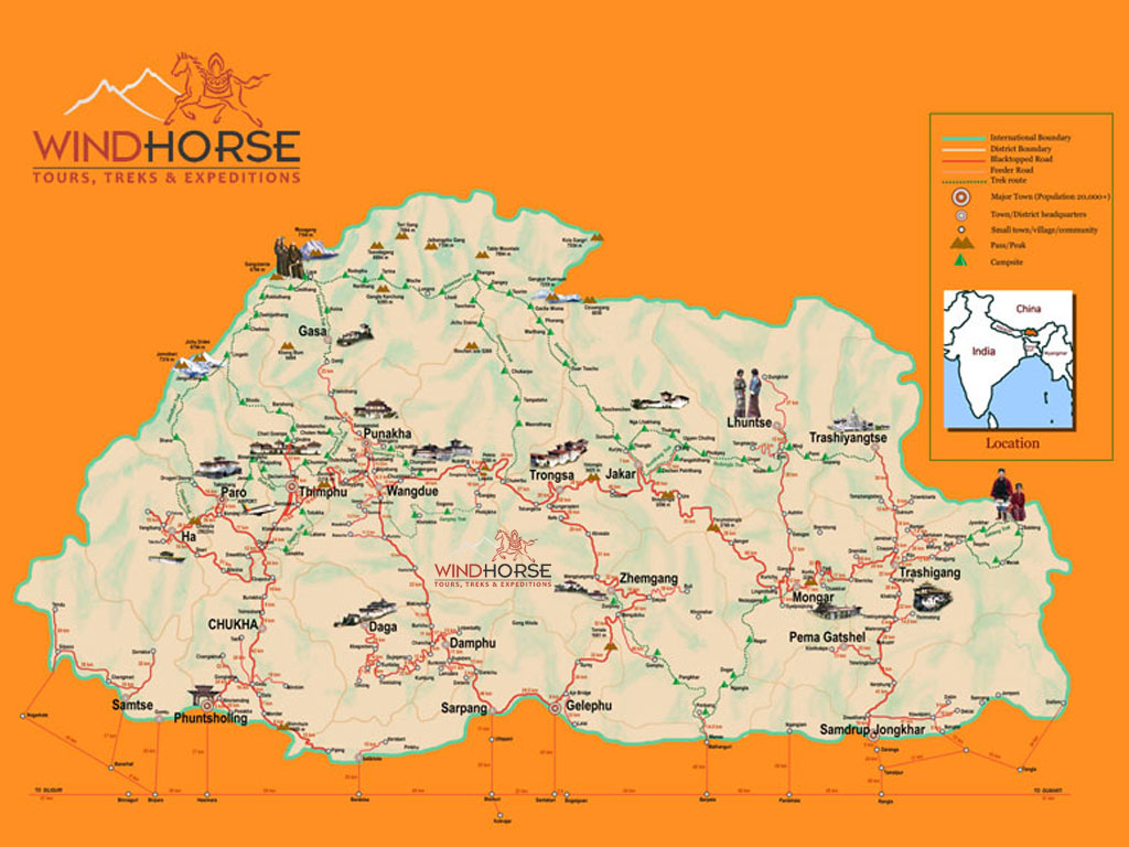 Bhutan Trekking Maps Bhutan Map Road And Trekking