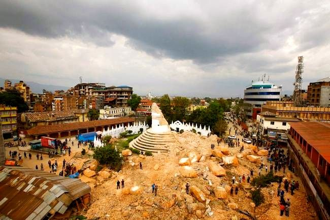 Landmark Dharahara Tower in ruin