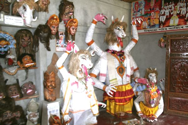 The mask that will used to enact religious drama during Raj leela festival in one of Satara (Monastery ) in Majuli