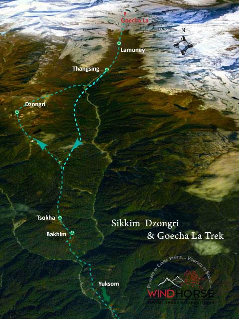 Sikkim Goecha La Dzongri Trek Map
